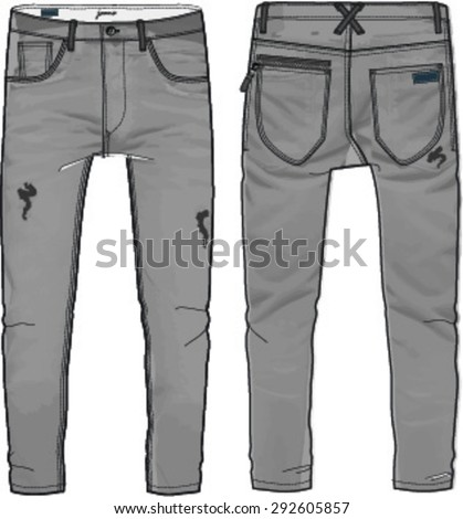 destroyed jeans design - stock vector