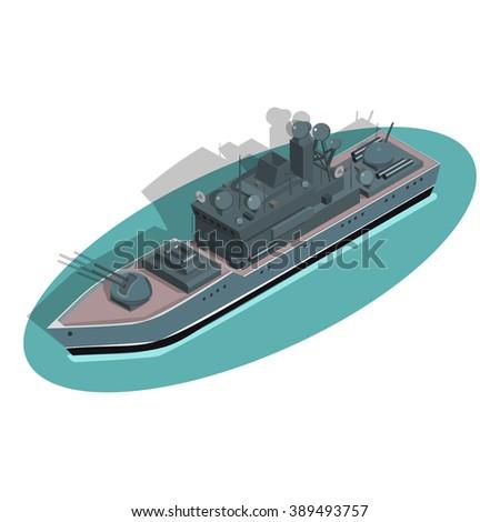 Destroyer ship - stock vector