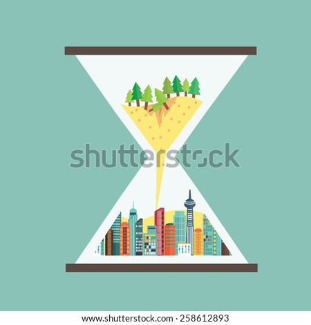 Destruction of natural with metropolis in hourglass - stock vector