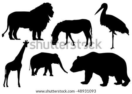 Detail black silhouette of wild animals. - stock vector