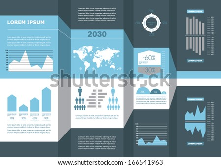 Detail business corporate info graphic with. World Map and data summary. Vector illustration - stock vector