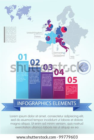 Detail infographic vector illustration. Map of Europe and Information Graphics. Easy to edit countries - stock vector