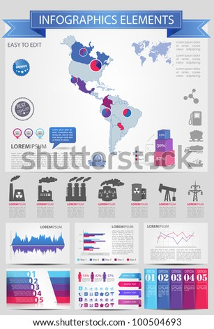 Detail infographic vector illustration with. Map of America, industrial infographics and Information Graphics. Easy to edit countries - stock vector
