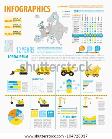 Detail infographic vector illustration with. Map of Europe, industrial and building infographics and Information Graphics. Easy to edit country - stock vector