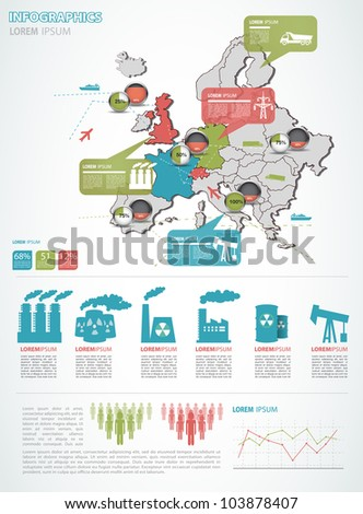 Detail infographic vector illustration with. Map of Europe, industrial infographics and Information Graphics. Easy to edit states - stock vector
