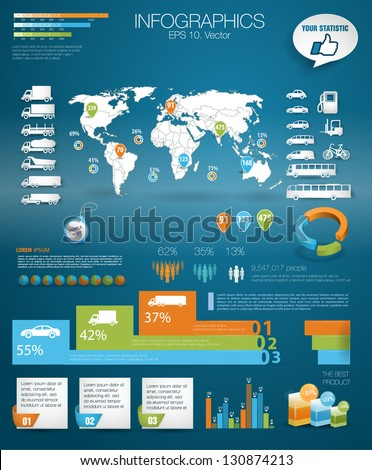 Detail infographic vector illustration with. Map of world, car infographics and Information Graphics. Paper Style. Higth quality. Easy to edit country - stock vector