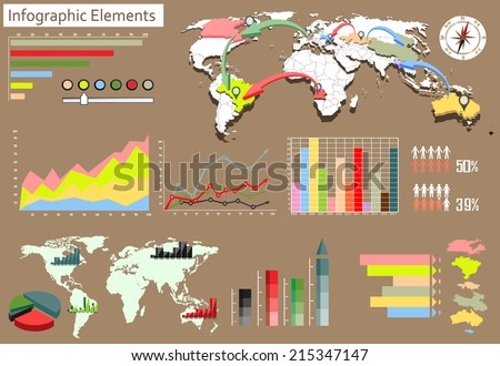 Detail infographic vector illustration. World Map and Information Graphics. - stock vector