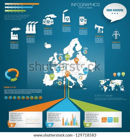 Detail modern infographic vector illustration with Map of Europe, industrial infographics and Information Graphics. Easy to edit states. Paper style - stock vector