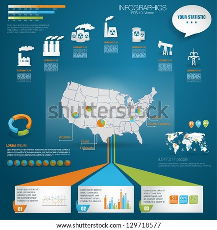 Detail modern infographic vector illustration with Map of United States of America, industrial infographics and Information Graphics. Easy to edit states. Paper style - stock vector