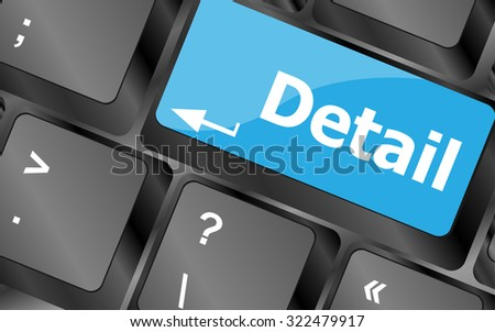 Detail of the keyboard with color key Detail, vector illustration - stock vector