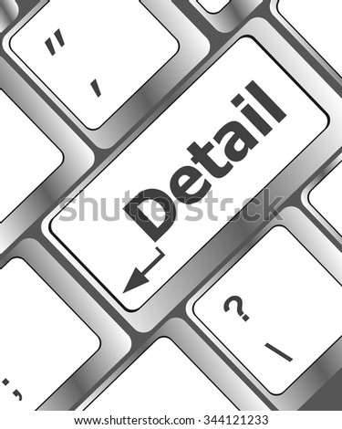 Detail of the keyboard with color key Detail vector illustration - stock vector