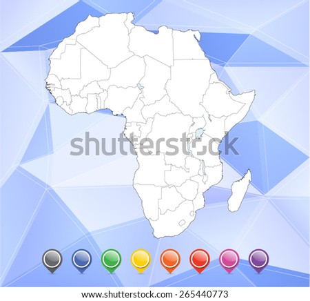 Detailed Africa Map with Pins & Background - Vector Illustration - stock vector