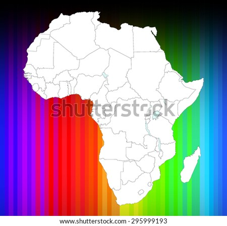 Detailed African Map - Rainbow Background - stock vector