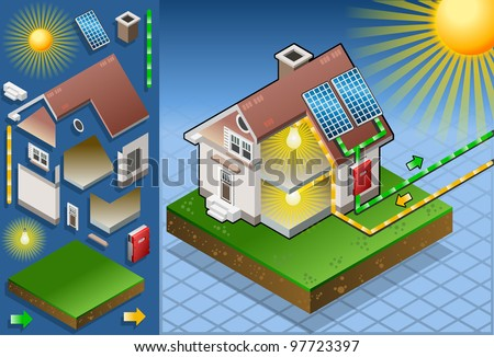 Detailed animation of a Isometric house with solar panel in production of energy from the sun - stock vector