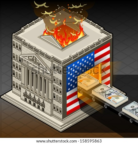 Detailed animation of a isometric Stock exchange burning euro  - stock vector