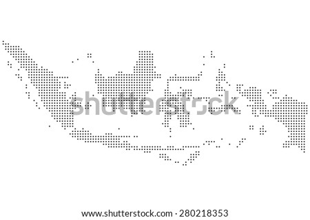 Detailed black and white dotted Indonesia map illustration vector - stock vector