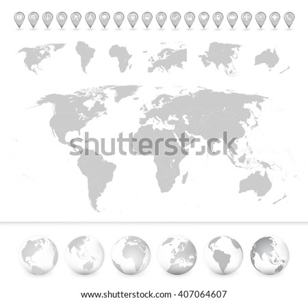 Detailed blank World Map with continents and globes. All elements are separated in editable layers clearly labeled. - stock vector