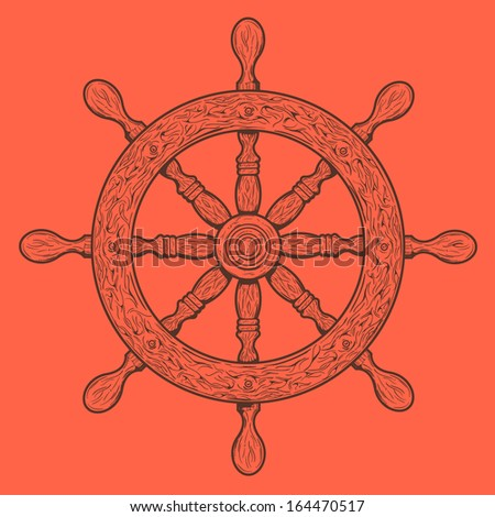 Detailed brown outlines nautical rudder isolated on orange background. Ship element. Vector illustration. - stock vector