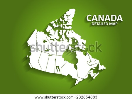 Detailed Canada Map on Green Background with Shadows (EPS10 Vector)  - stock vector