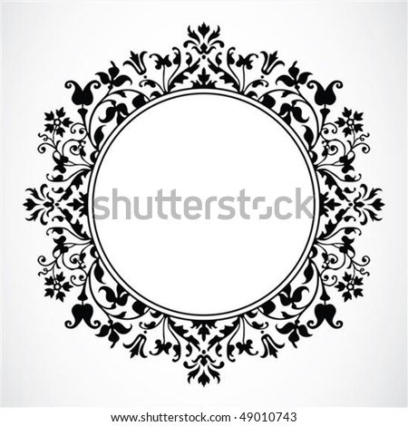 Detailed circular floral frame or border. Easy to scale to any size. - stock vector