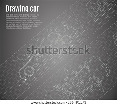 Detailed drawings of cars, limousine, with orthogonal views and sections. - stock vector