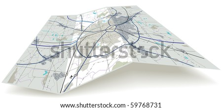 Detailed editable vector folding map with no names - stock vector