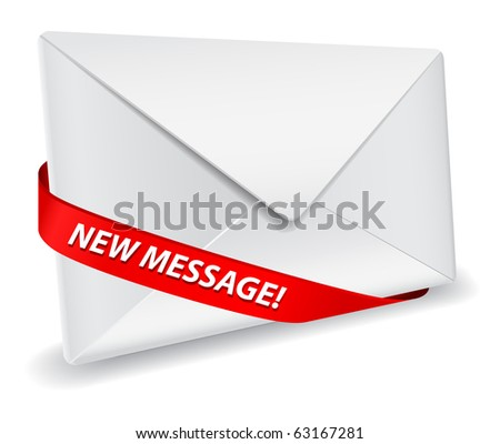 detailed envelope icon with red ribbon - stock vector