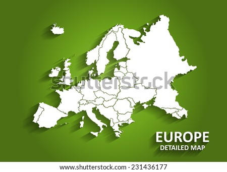 Detailed Europe Map on Green Background with Shadows (EPS10 Vector) - stock vector