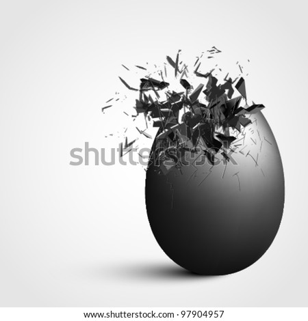 Detailed exploding egg - stock vector
