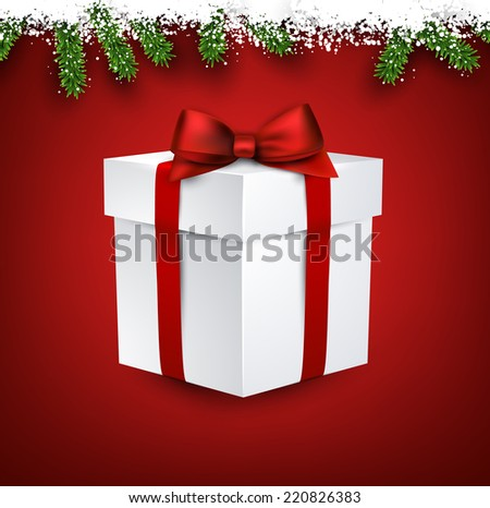 Detailed fir frame with 3d gift box. Red christmas background. Vector illustration.  - stock vector