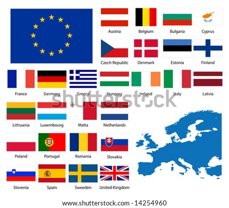 Detailed flags and map of European nations - stock vector