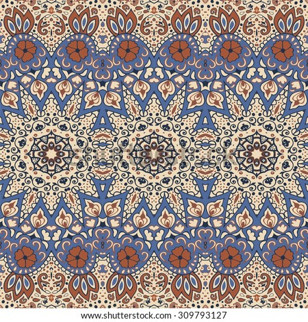Detailed floral and paisley scarf design.Seamless retro pattern can be used for wallpaper, pattern fills,web page background,surface textures, pillow, scrapbook, textile,indian wedding - stock vector  - stock vector