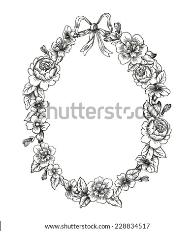 Detailed flowers and roses frame with a bow - stock vector