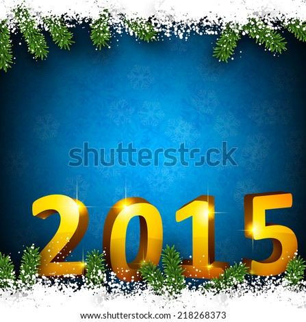 Detailed frame with fir. Blue christmas background with 2015 3d design. Vector illustration. - stock vector