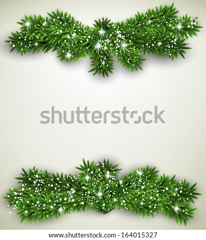 Detailed frame with fir bundle. Christmas background. Vector illustration.  - stock vector
