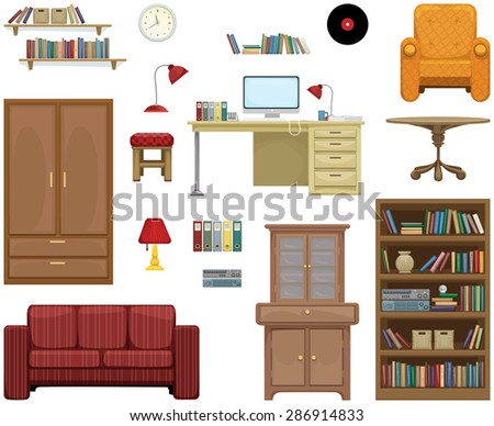 Detailed furniture set, vector illustration - stock vector