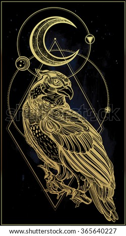 Detailed hand drawn bird of prey. - stock vector