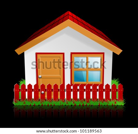 Detailed home icon on black, 10eps. - stock vector