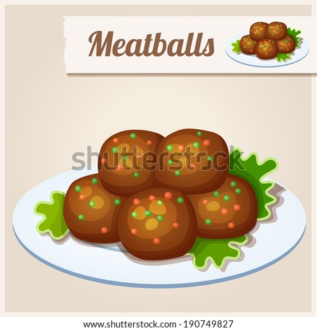Detailed Icon. Meatballs. - stock vector