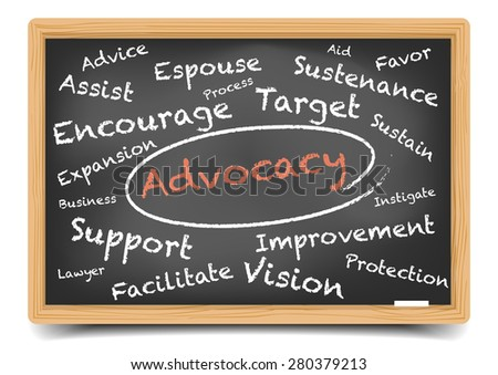 detailed illustration of a Advocacy wordcloud on a blackboard, eps10 vector, gradient mesh included - stock vector