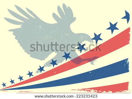 detailed illustration of a bald eagle silhouette in front of a grungy stars and stripes backbround, eps 10 vector - stock vector