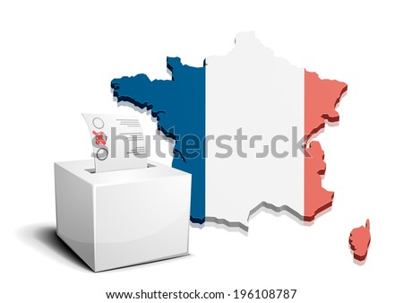 detailed illustration of a ballot box in front of a 3D map of France, eps10 vector - stock vector