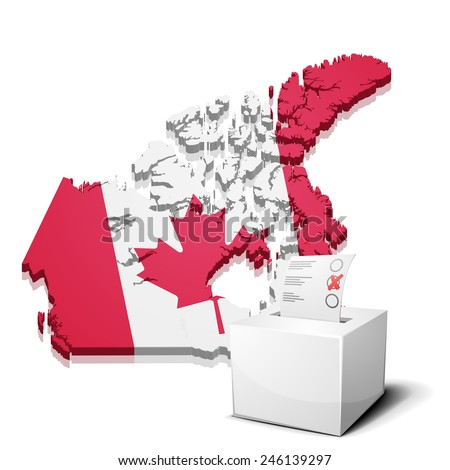 detailed illustration of a ballotbox in front of a map of Canada, eps10 vector - stock vector