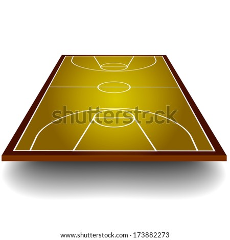 detailed illustration of a basketball court with perspective, eps10 vector - stock vector