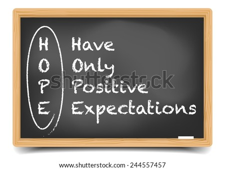 detailed illustration of a blackboard with a HOPE term explanation, eps10 vector, gradient mesh included - stock vector