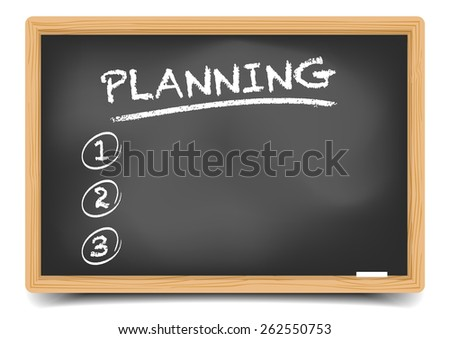 detailed illustration of a blackboard with a planning list, eps10 vector, gradient mesh included - stock vector