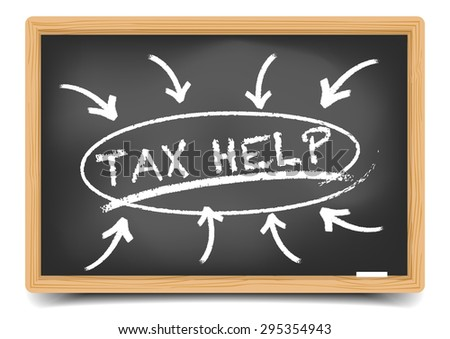 detailed illustration of a blackboard with a Tax Help focus sketch, eps10 vector, gradient mesh included - stock vector