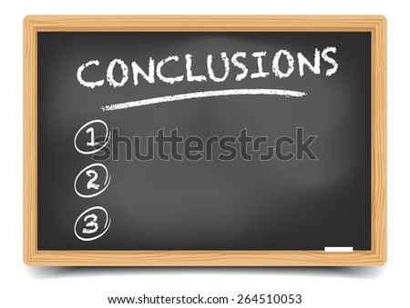 detailed illustration of a blackboard with an empty conclusions list, eps10 vector, gradient mesh included  - stock vector