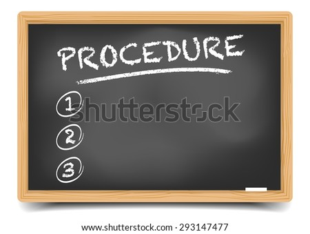 detailed illustration of a blackboard with an empty Procedure list, eps10 vector, gradient mesh included - stock vector