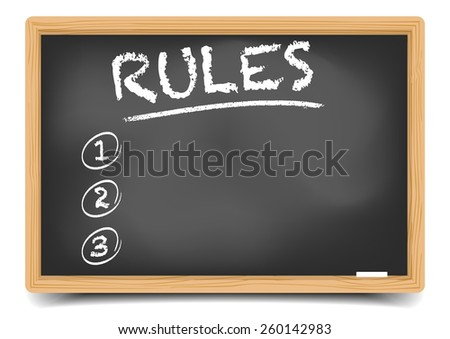 detailed illustration of a blackboard with an empty Rules List, eps10 vector, gradient mesh included - stock vector